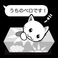 LINE スタンプ「白ねこペロの吹き出しスタンプ」 LINE STORE にて販売中!